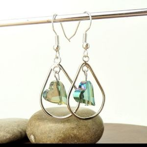 Iridescent Heart Bead Teardrop Earrings